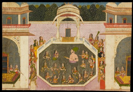 Maharaja Vijai Singh bathes with his ladiesfront