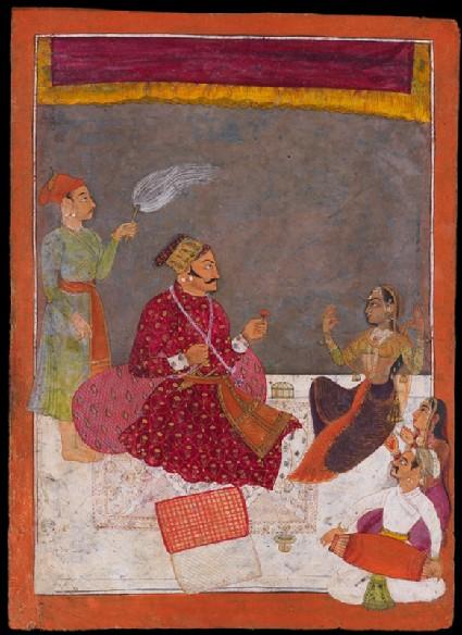 Maharaja Dhiraj Singh watches a nautchfront