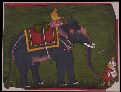 Maharao Bhao Singh riding an elephantfront