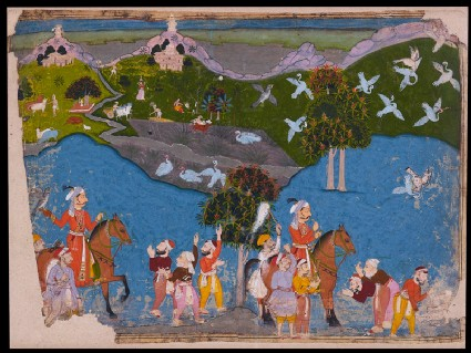 Maharana Amar Singh hunting sarus cranefront