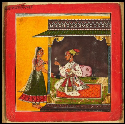 A prince and lady meeting, illustrating the musical mode Raga Madhavafront