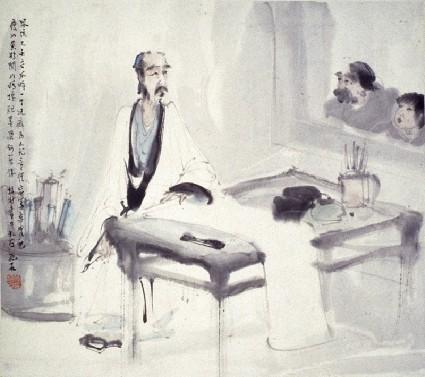 The scholar artist in his studiofront