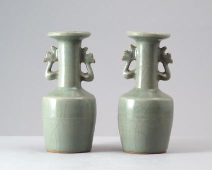 Greenware kinuta, or mallet, vase with phoenix handlesfront