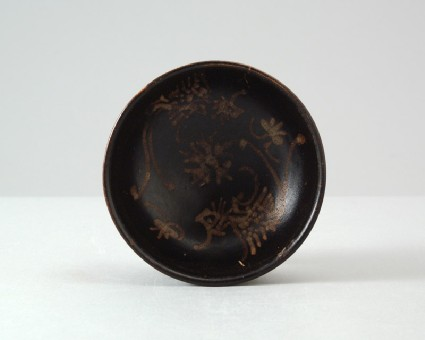 Black ware tea bowl with phoenixesfront