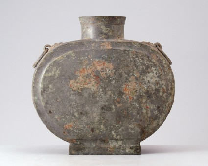 Funerary flask, or bian hu, with handles and animal mask decorationfront