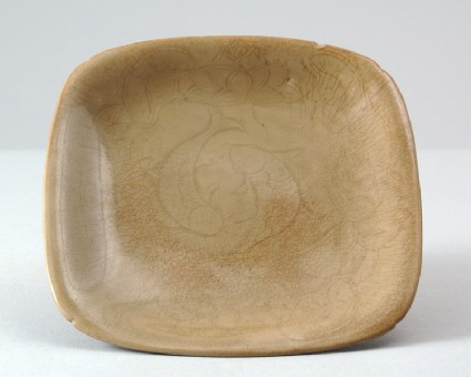Greenware dish with lotus flowers and fishfront