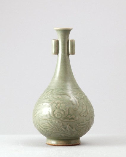 Greenware vase with peony scroll decorationfront