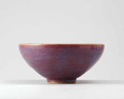 Bowl with blue and purple glazesfront