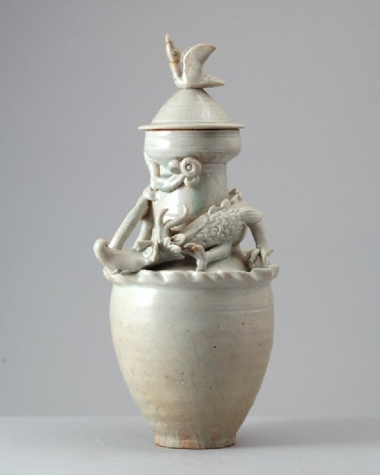 White ware funerary vase and lid with a dragon and birdfront