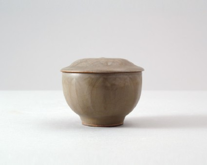 Greenware bowl and lid with lotus petalsfront