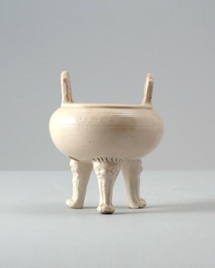 Dehua type white ware tripod incense burner with key-fret decorationfront