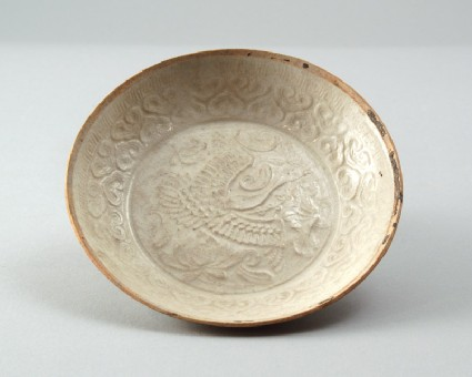 White ware dish with a goose and lotus flowersfront
