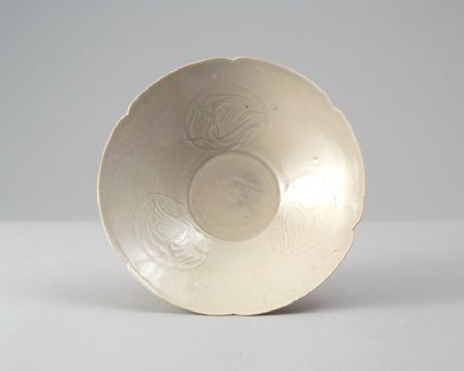 White ware bowl with birds in flightfront