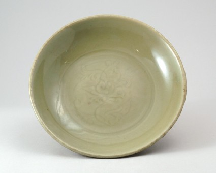 Greenware dish with lotus decorationfront