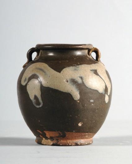 Huangdao black ware jar with white splashesfront