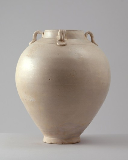 White ware jar with loop handlesfront