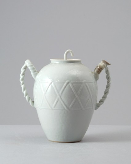 White ware ewer with basket-weave decorationfront