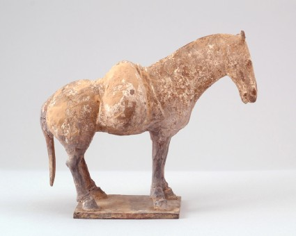 Figure of a mule with a sack across its backfront