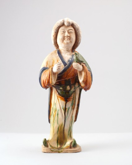 Figure of a lady holding a birdfront