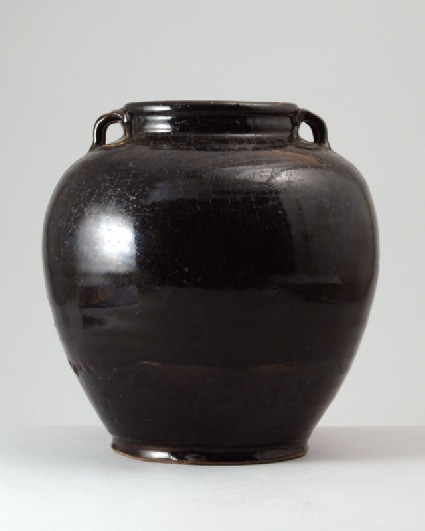Black ware storage jar with lug handlesfront