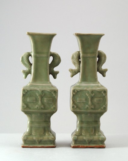 Greenware fang gu, or square vase, with carp and trigram decorationfront
