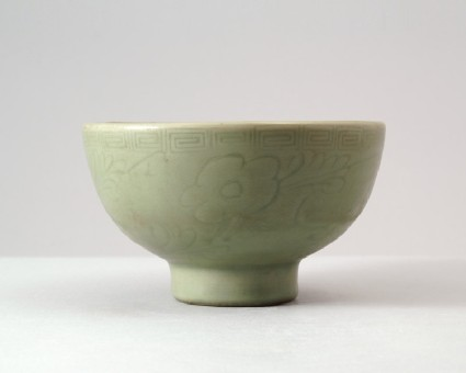Greenware bowl with historical and legendary figuresfront