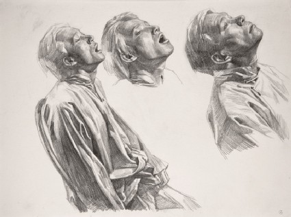 Three heads, study for Starvationfront