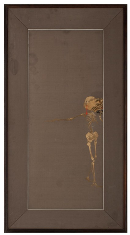Skeleton dancing with a fanfront, Cat. No. 38