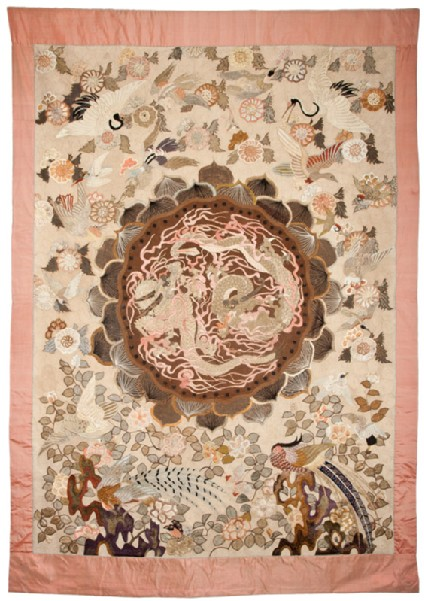 Silk hanging or tablecloth with pheasants, birds, and a roundel depicting dragonsfront, Cat. No. 4