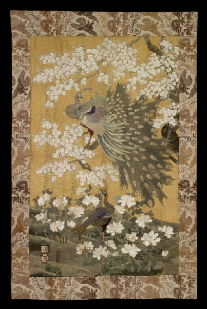 Peacock and peahen with cherry blossom and peoniesfront, Cat. No. 24