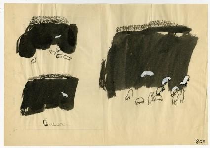 Three sketches of mountain sheepfront