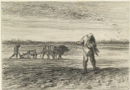 Man ploughing and another sowingfront